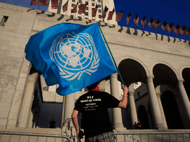 "Steve Meece holds a United Nations flag as he joins a ""Black Lives Matter"" protest Saturday, June 6, 2020 outside Los Angeles City Hall in Los Angeles. The death of George Floyd, who was restrained by Minneapolis police last month, has sparked nationwide protests for police reform. (AP Photo/Damian Dovarganes)"