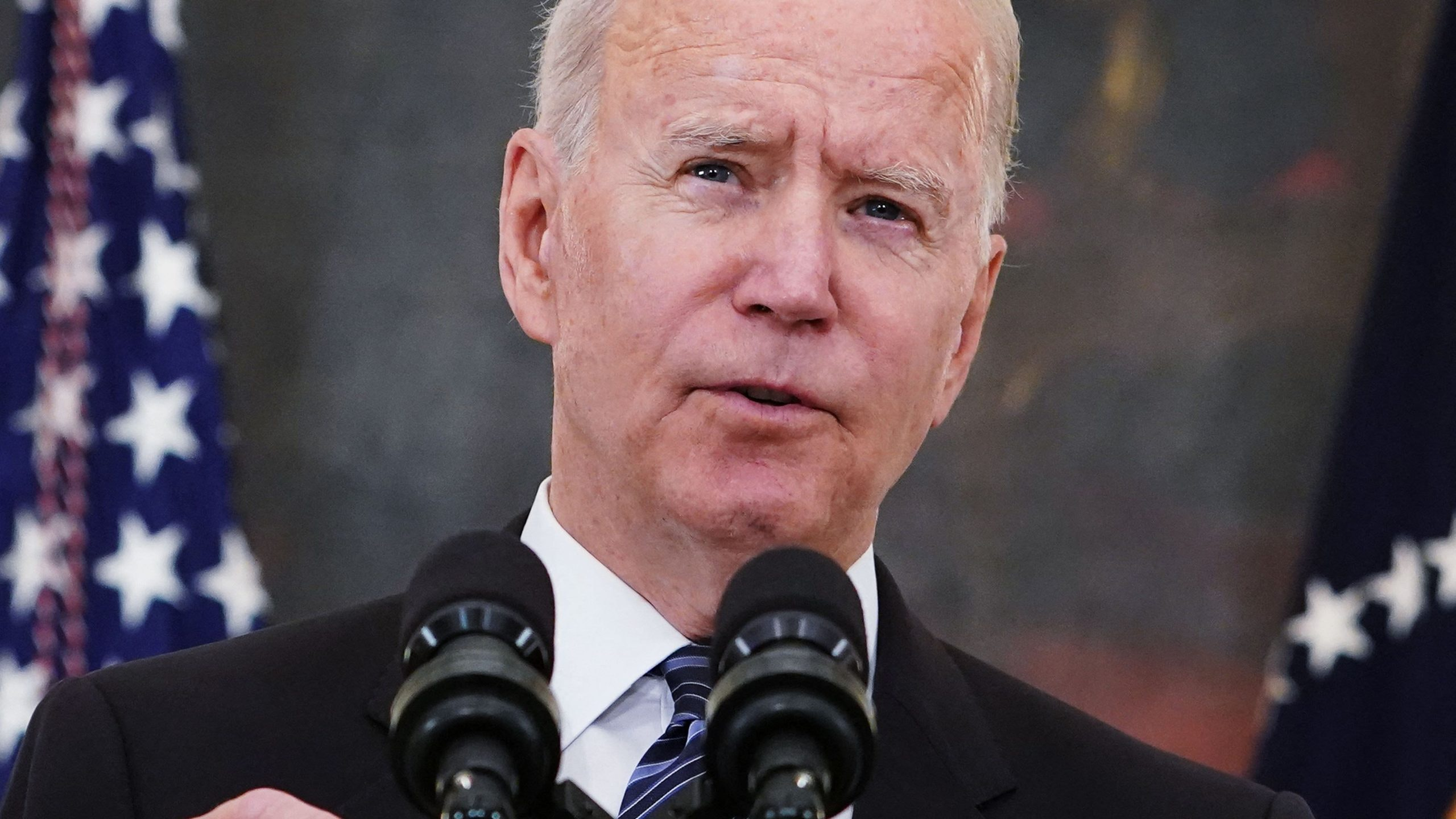 US President Joe Biden speaks about crime prevention, in the State Dining Room of the White House in Washington, DC on June 23, 2021. - President Biden unveiled new measures Wednesday to tackle gun violence against a backdrop of surging crime that his Republican rivals have seized on for weeks.
